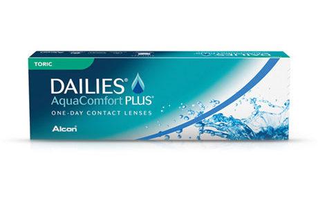Æske med Dailies AquaComfort Plus Toric-kontaktlinser