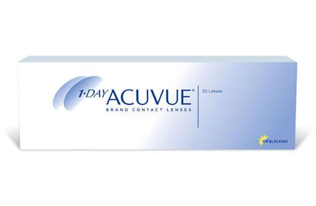 Æske med 1 Day Acuvue-kontaktlinser