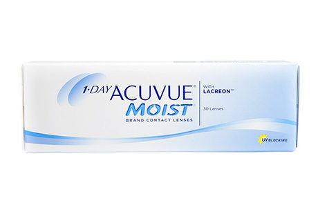 Æske med Acuvue Moist 1 Day-kontaktlinser