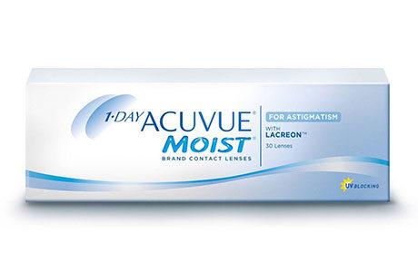 Æske med Acuvue 1 Day Moist for Astigmatism-kontaktlinser