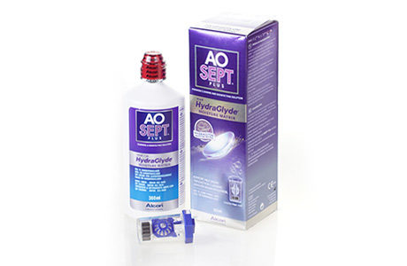 Flaske og pakke med AOSEPT kontaktlinsevæske