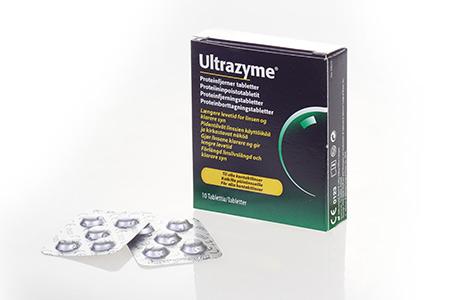 Pakke med Ultrazyme proteinfjernertabletter