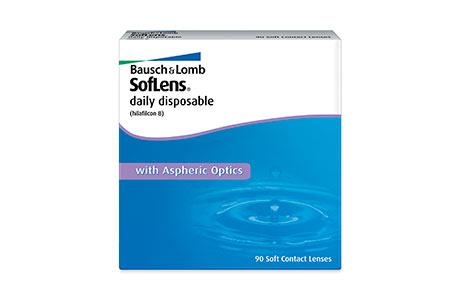 Æske med Bausch+Lomb Soflens Daily Disposable-kontaktlinser 90 stk.